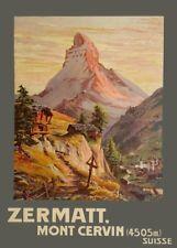 Vintage Ski Posters ZERMATT MONT CERVIN, Swiss, 1904, 250gsm A3 Travel Print