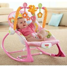 Fisher-Price Infant-to-Toddler Rocker Sleeper Pink Baby Bouncer Seat Portable