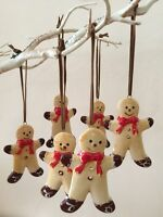 Set of 6 Gingerbread Men Ceramic Shabby Chic Christmas Tree Decorations