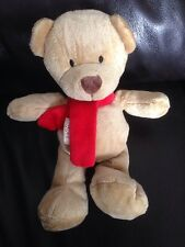 "MOTHERCARE 2006 red scarf 10"" TEDDY BEAR COMFORTER SOFT LOST SPARE BABY A9"