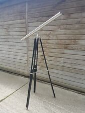 "Full Size Brass Telescope On a Wooden Tripod Stand 39"" Tube Length Nickel Finish"