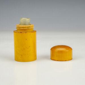 Antique Polished Wood - Pocket Travel Inkwell Ink Bottle - Early!