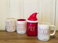 Rae Dunn Christmas HOT COCOA, PEPPERMINT MOCHA, MILK, COCOA Large Letter LL Mugs