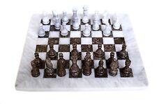 RADICALn Handmade White and Grey Oceanic Full Original Marble Chess Game Set