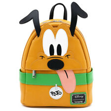 $ New LOUNGEFLY DISNEY School Bag Backpack PLUTO Puppy Dog House Brown Tan