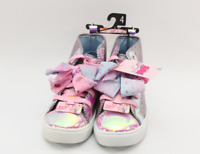 NEW Jojo Siwa Metallic Mermaid Bow Shoes Girls High Top Sneakers - Size 4