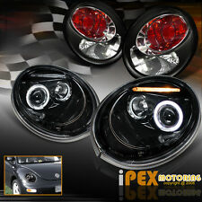 NEW 1998-2005 VW Beetle LED Halo Projector Smoked-Black Headlights + Tail Lights