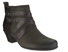 Earth Leather Multi-Strap Ankle Boots Booties Emerald Gray Women's Size 10 New