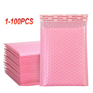 100X Pink Poly Bubble Bag Mailer Plastic Padded Envelope Shipping Bag Packaging