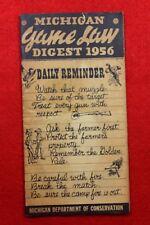 Vintage Digest of Game Laws 1956 Michigan Dept of Conservation ( Scarce )