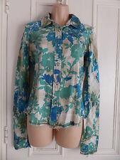 Beige shirt Billabong size M blue green floral, brown stripes diamante buttons