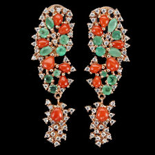 Unheated Marquise Green Emerald Coral White Cz 925 Sterling Silver Earrings