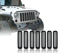 Matte Black Front Grille Mesh Clip-in Inserts for 16-18 Jeep Wrangler JK 2/4Door