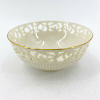 Vintage Lenox Ivory Reticulated Footed Candy Bowl Gold Rim Embossed Ribs 5.25""