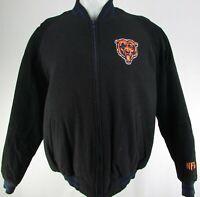 Chicago Bears NFL Men's Black Full-Zip Suede Bomber