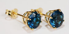 BEENJEWELED NATURAL  LONDON BLUE TOPAZ EARRINGS~PREMIUM 14 KT YELLOW GOLD~6MM