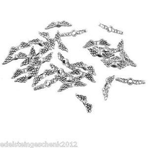 1000 Antiksilber Perlen Gravur Beads Flügel Engelsflügel zum Basteln 12x0.3cm *