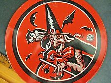 Vintage Halloween Tin Lithograph Noise Maker witch bat noisemaker U.S. Metal Toy