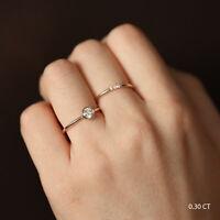 14K Solid Gold Bezel Diamond Wedding Engagement Ring, Minimalist Diamond Ring
