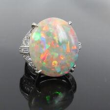 Estate 22.92ct Natural Harlequin Opal & 1.40ct Diamond 14K White Gold Ring