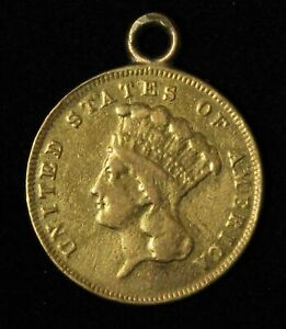 1856-S $3 Indian Princess Three Dollar Gold Piece Necklace Ready - Free Ship US