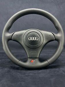 AUDI A4 B5 S4 RS4 S-Line TT MK1 Steering Wheel Nappa Leather Black Stitching