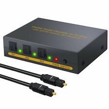 ESYNIC Digital to Analog Audio Decoder 3 Port Optical SPDIF Toslink to L R RC