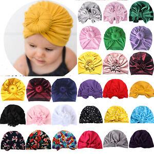 Kids Girls Toddler Turban Cap Baby Bowknot Headband Head Wrap Beanie Hat Warm