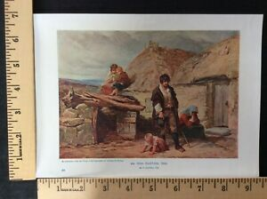 Rare Antique Original VTG The Irish Eviction of 1850 F Goodall Litho Art Print