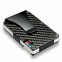Men RFID Blocking Slim Carbon Fiber Money Clip Minimalist Wallet ID Card Holder
