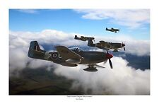 "WWII WW2 RAF RAAF P-51 Mustang Aviation Art Photo Print - 8"" X 12"""