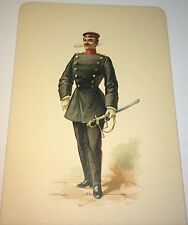 Antique Victorian Smoking French Soldier, Sword! Uniform Lithograph Art Card!