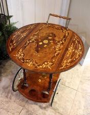 Vintage Italian Marquetry Tea Cart Drop Leaf