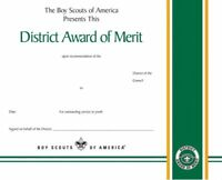 BOY SCOUT OFFICIAL BSA ADULT LEADER DISTRICT AWARD OF MERIT CERTIFICATE 8.5x10""