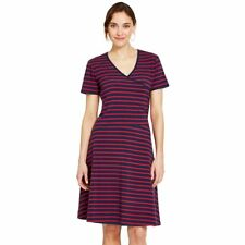 NWT - IZOD Women's STRIPED Navy/Red FAUX-WRAP DRESS  -  M