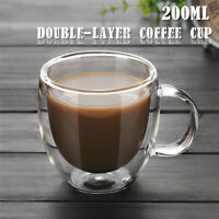 200ml Double Wall Glass Coffee Tea Cup Mug Heat-resistant Double-layer Container