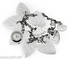 NEW-AUTHENTIC BURBERRY ENGRAVED WHITE RESIN HEART CHARM BRACELET WATCH BU5261