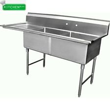 """2 Compartment Sink with Left Drain Board 15""""x15"""""""