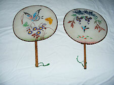 Pair  Of   Oriental  Circular  Hand   Painted  Decorated   Fans  Bamboo  Handles