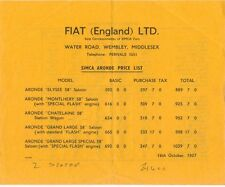 SIMCA liste de prix 1957 ARONDE ELYSEE MONTLHERY châtelaine grand large