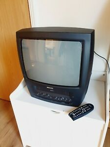 Philips 14PV182/05 14 Inch CRT TV Television VHS Video Retro Gaming with Remote