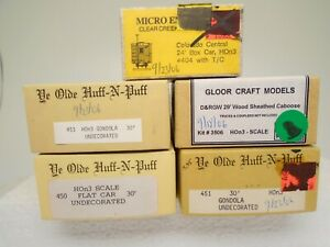 Gloor Craft/others HOn3 lot of 5 Wood Freight car kits