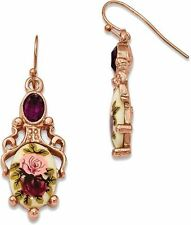 1928 Jewelry - Rose-tone Dark Purple Crystal Floral Decal Dangle Earrings