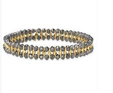 Phoebe Stretch Two-tone Metal & Hematite Glass Dot Bead Statement Bracelet SZ486