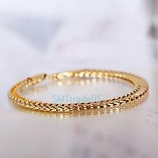 High Quality 18K Gold Plated Copper Men Thick Solid Color Chain Link Bracelet S5