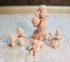 New listing Vintage Ceramic Dog Figures 4 Spaghetti Trimmed Pink Poodles