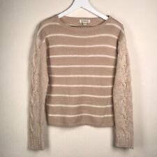 Poof Excellence Striped Cable Knit Sweater Medium Beige White