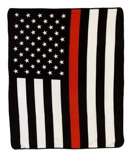 USA American Thin Red Line 50x60in Throw Blanket Fire Department FD