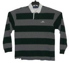 Aeropostale Men's Long Sleeve Rugby Green/ Gray Striped Shirt Size XL