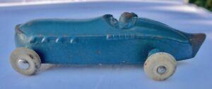 "Sun Rubber Company Toy INDY Blue Race Car Barberton Ohio 1930's 4"" Tail Fin"